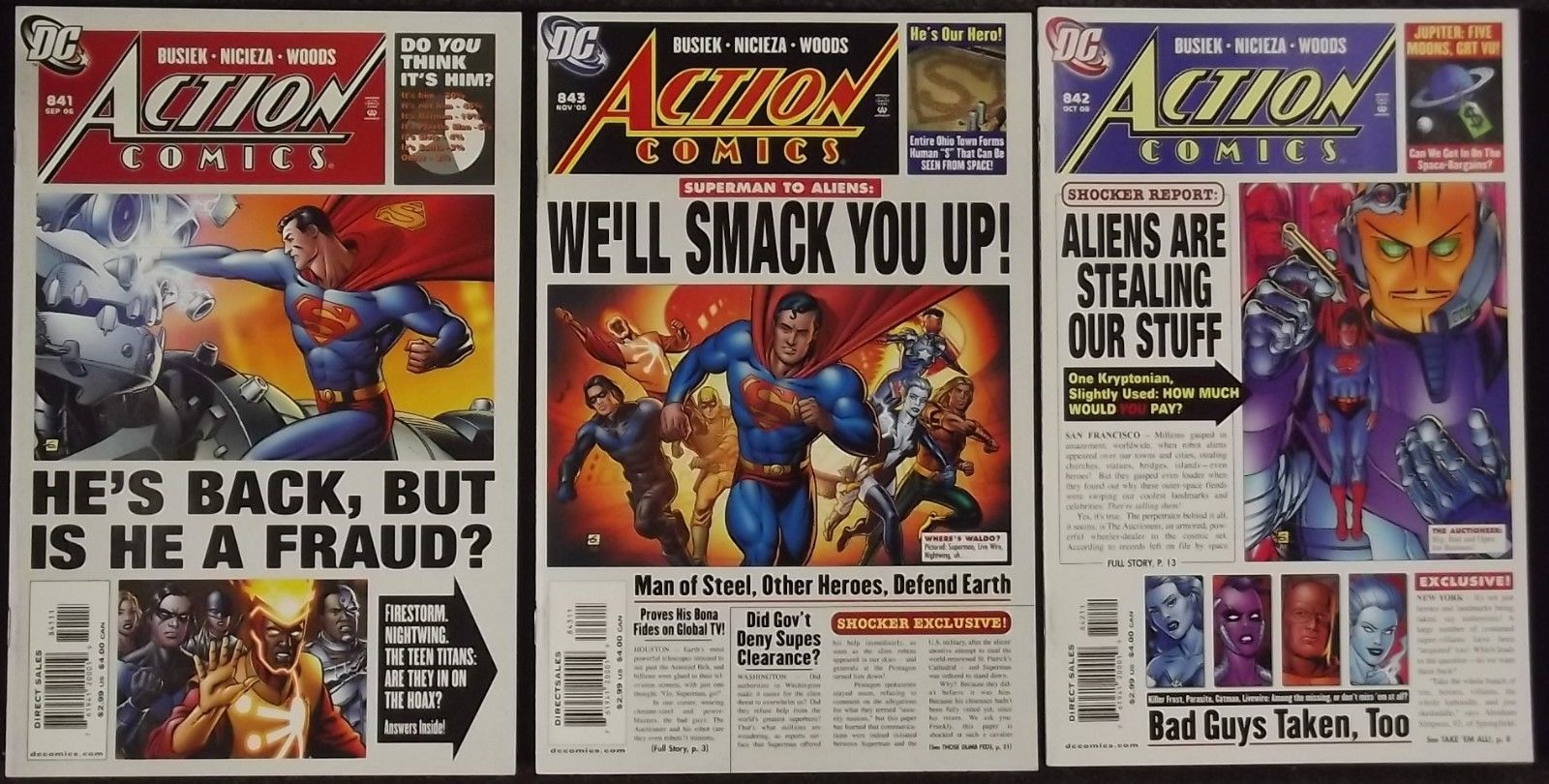 """ACTION COMICS #'s 841, 842, 843 COMPLETE """"BACK IN ACTION ..."""