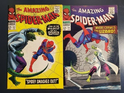 AMAZING SPIDER-MAN lot #44 & #45 (1967) 2nd, 3rd app Lizard High grade F+/VF-|
