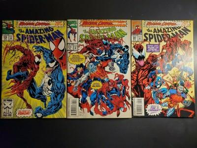 Amazing Spider-Man #378 - NM- 379 - VF+ 380 - NM- Maximum Carnage parts 3,7,11 |