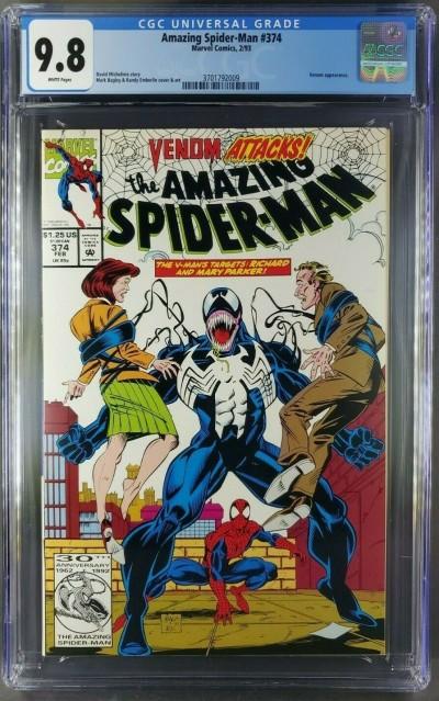 AMAZING SPIDER-MAN #374 CGC 9.8 WHITE PAGES MARK BAGLEY VENOM COVER 3701792009 |