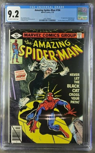 Amazing Spider-man 194 CGC 9.2 NM- OWW 1st app. Black Cat rarer direct version|