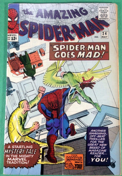 "Amazing Spider-Man (1963) #24 VG+ (4.5) ""Spider-Man Goes Mad""  Classic Ditko"