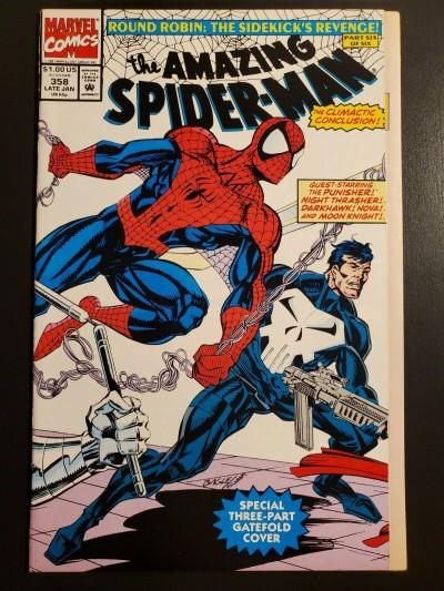 Amazing Spider-Man #358 (1992) NM 9.4 Gatefold cover Round Robin Mark Bagley 