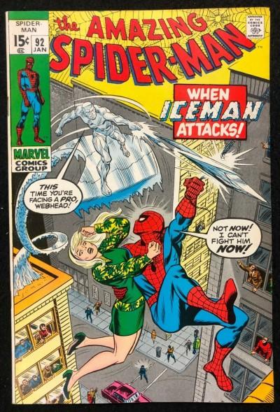 Amazing Spider-Man (1963) #92 VF (8.0) John Romita Ice Man Gwen Stacy