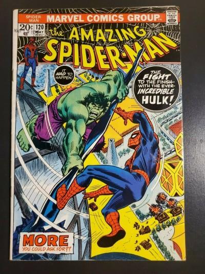 AMAZING SPIDER-MAN #120 (1973) F+ (6.5) HULK COVER/APPEARANCE JOHN ROMITA COVER|