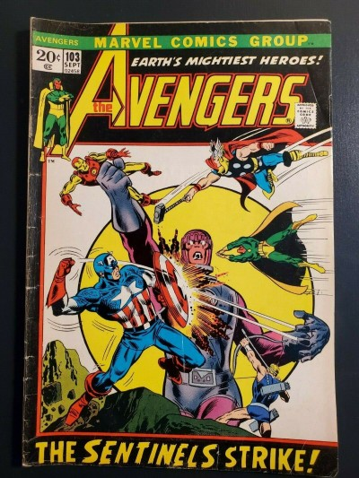 Avengers #103 (1972) VG (4.0) Sentinels picture frame cover cover |