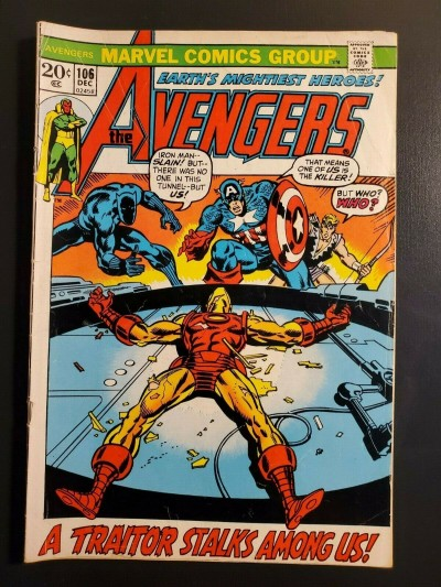 Avengers #106 (1973) G/VGV (3.0) Iron Man picture frame cover |
