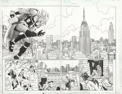 Avengers #6 pgs 18 & 19 Double Page Splash John Romita Jr Original Art Thor