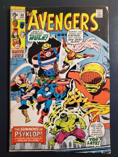 Avengers #88 (1971) VG/F (5.0) Harlan Ellison script, Hulk appearance Psyklop |