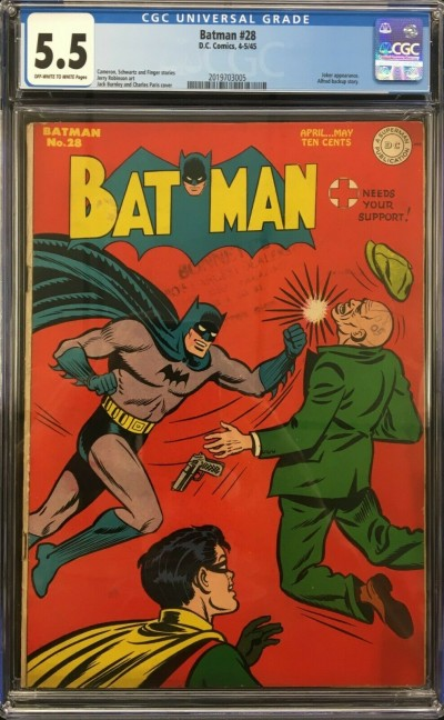 Batman (1940) #28 CGC 5.5 Joker app Alfred back-up story (2019703005)