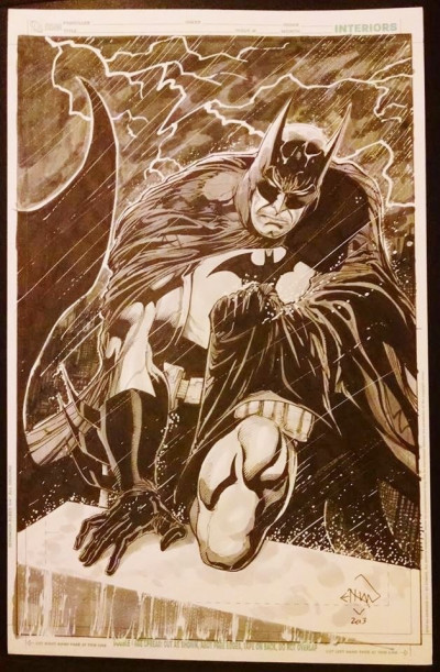 Batman in the Rain Commission Cover Splash Page Original Art Ethan Van Sciver