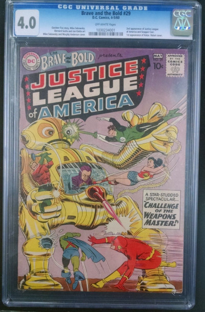 BRAVE & THE BOLD #29 CGC GRADED 4.0 2ND APPEARANCE JUSTICE LEAGUE