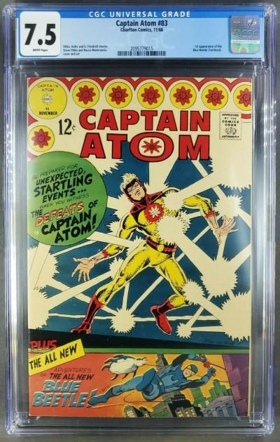 Captain Atom #83 CGC 7.5 VF- WHITE 1st app of Blue Beetle (Ted Kord) 2095779015 