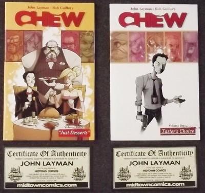 CHEW (2009) TPB VOLUMES 1 & 3 NM 1ST FIRST PRINTS SIGNED COA JOHN LAYMAN IMAGE