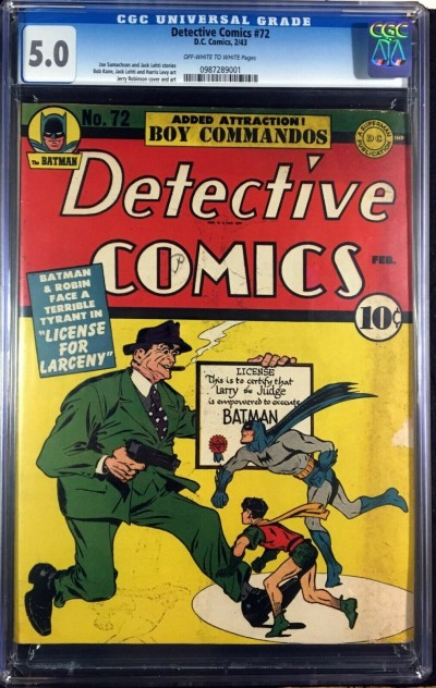 Detective Comics (1937) #72 CGC 5.0 Batman & Robin cover (0987289001)