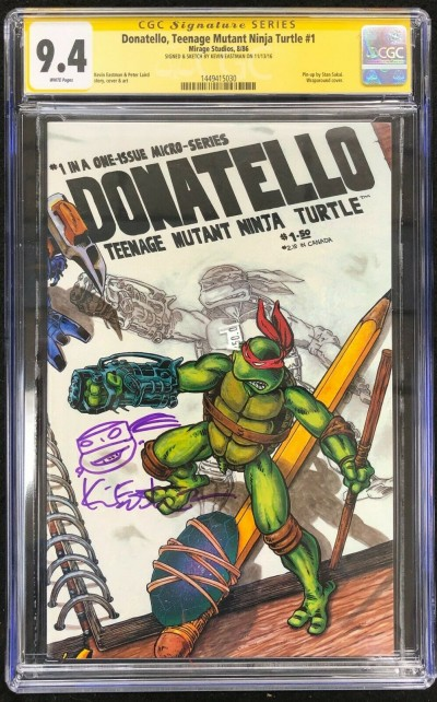 Donatello TMNT (1986) #1 CGC 9.4 Signed & Remarked Kevin Eastman (1449415030)