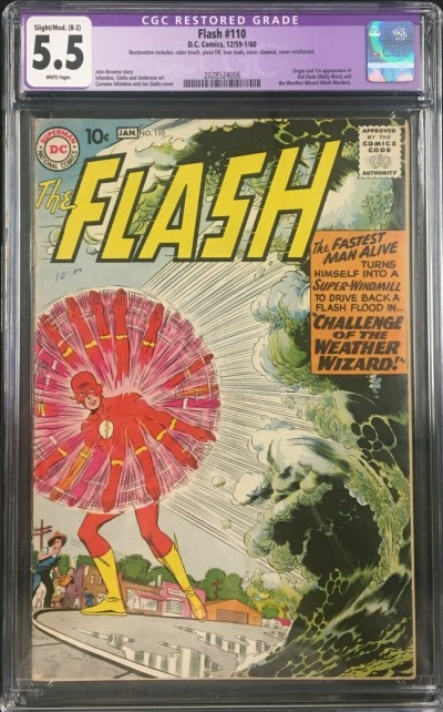 Flash (1959) #110 CGC 5.5 (B-2) 1st app Kid Flash Wally West (2028524006)
