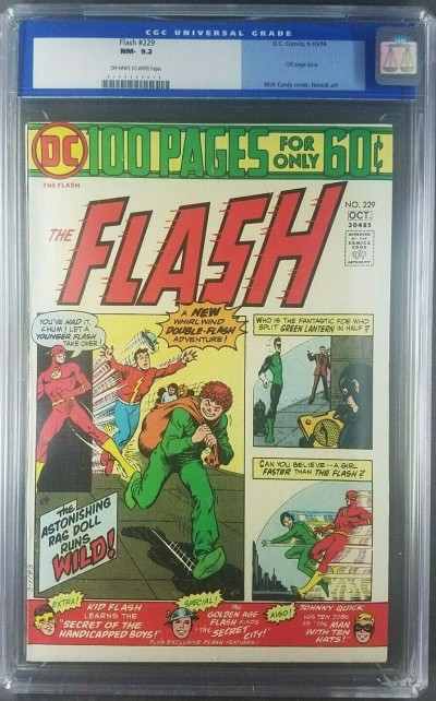 Flash #229  Sept-Oct 1974 CGC 9.2 NM- OW/W old label High Grade 0109334016|