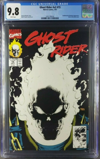 GHOST RIDER vol.2 #15 (7/91) CGC 9.8 NM/M WHITE PAGES GLOW IN THE DARK COVER |