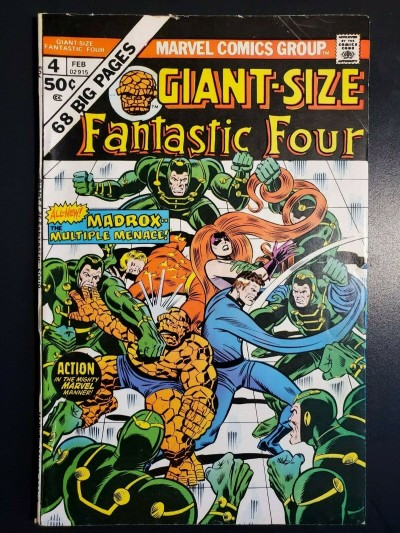 GIANT SIZE FANTASTIC FOUR #4 (1975) FINE (6.0) HIGHER GRADE 1ST JAMIE MADROX 