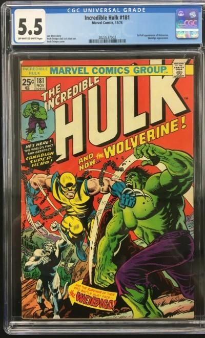 Incredible Hulk (1968) #181 CGC 5.5 1st app Wolverine (2023537002)
