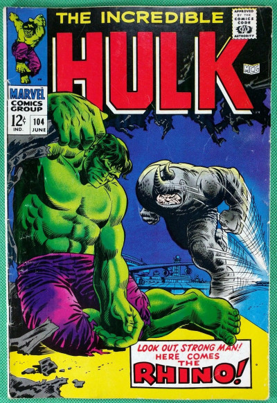 Incredible Hulk (1968) #104 VG+ (4.5) versus Rhino
