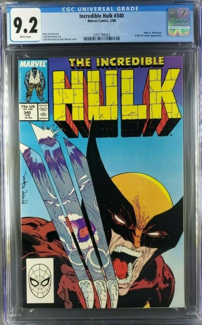 INCREDIBLE HULK 340 CGC 9.2 WHITE PAGES CLASSIC MCFARLANE WOLVERINE COVER |