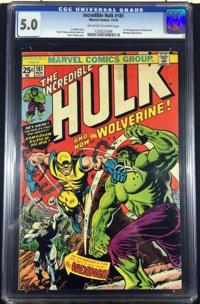 Incredible Hulk (1968) #181 CGC 5.0 1st app Wolverine (1220225006)