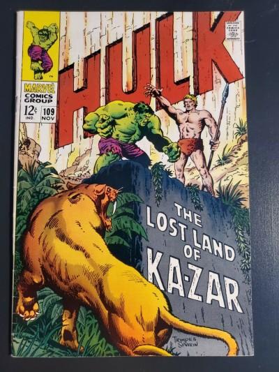 Incredible Hulk #109 (1968) Silver Age Hulk FN/VF 7.0 Marie Severin Kazar app.|