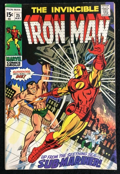 Iron Man (1968) #25 FN/VF (7.0) Sub-Mariner battle cover
