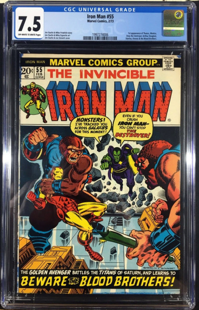 Iron Man (1968) #55 CGC 7.5 1st app Thanos (1997274006)