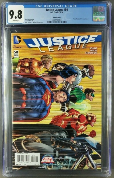 JUSTICE LEAGUE #50 (2016) Romita Variant CGC 9.8 First App 3 Jokers 3701794003 |