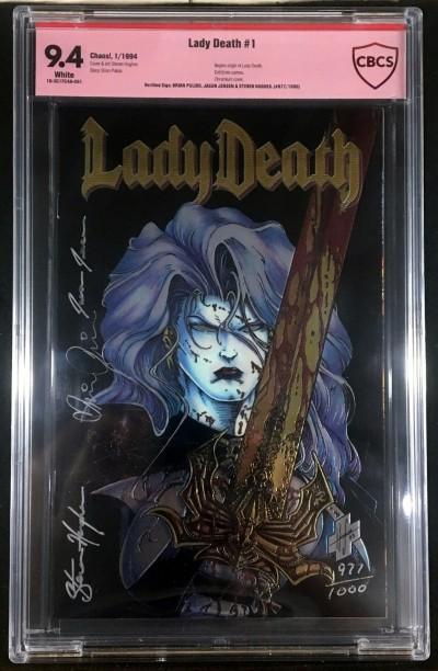 Lady Death (1994) #1 CBCS 9.4 verified signature x 3 Hughes Jensen Pulido w/COA