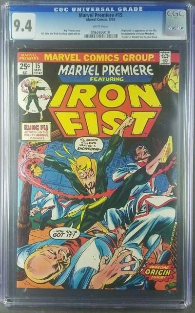 Marvel Premiere #15 1974 CGC 9.4 NM WHITE 1st Iron Fist Danny Rand 0969866010|