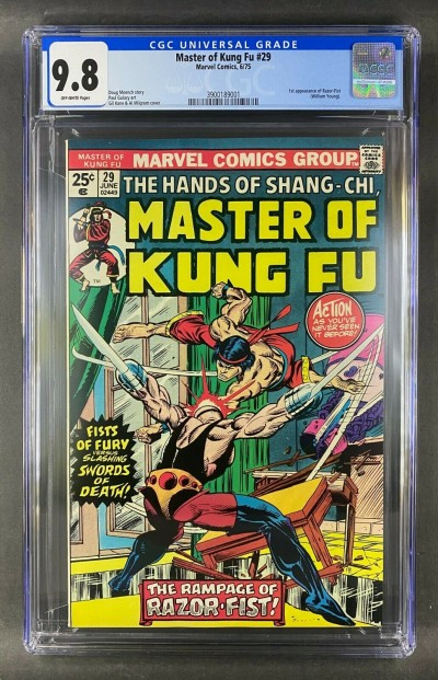 Master of Kung Fu (1974) #29 CGC 9.8 1st Appearance Razor-Fist (3900189001)
