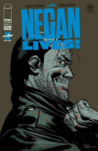 Negan Lives! (2020) #1 VF/NM Charlie Adlard 2nd Print Cover Walking Dead Image