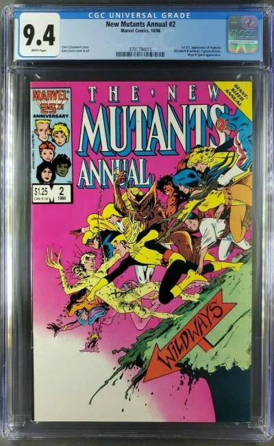 New Mutants Annual #2 CGC 9.4 NM White 1st Psylocke Marvel Comics (3701794015) |
