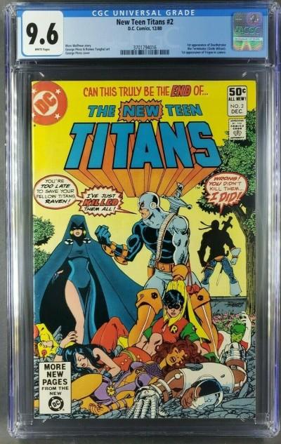 New Teen Titans 2 CGC 9.6 WHITE 1st App Deathstroke George Perez (3701794016) |