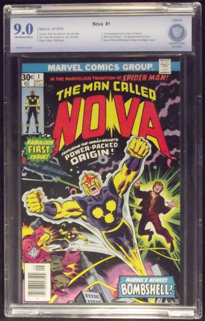 NOVA #1 CBCS GRADED 9.0 1ST APPEARANCE & ORIGIN OFF-WHITE TO WHITE PAGES