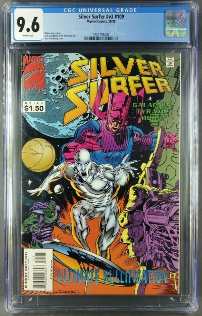 "SILVER SURFER V3 #109 (1995) CGC 9.6 WHITE ""DEATH"" OF GALACTUS COVER 3701795003