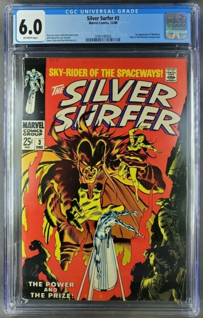 SILVER SURFER  #3 (1968) CGC 6.0 OW FINE BEAUTIFUL COPY 1ST APPEARANCE MEPHISTO|