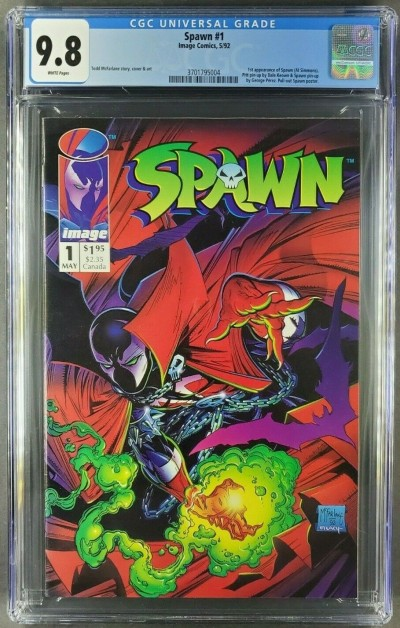 SPAWN #1 CGC 9.8 WHITE PAGES 1ST APPEARANCE OF SPAWN MCFARLANE 3701795004 |