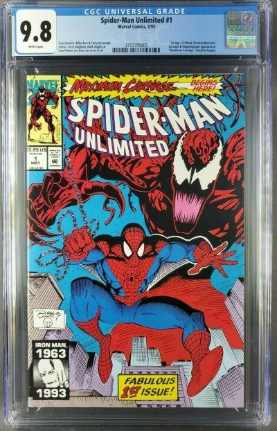 SPIDER-MAN UNLIMITED #1 CGC 9.8 WHITE Maximum Carnage 1ST APP SHRIEK 3701795005|