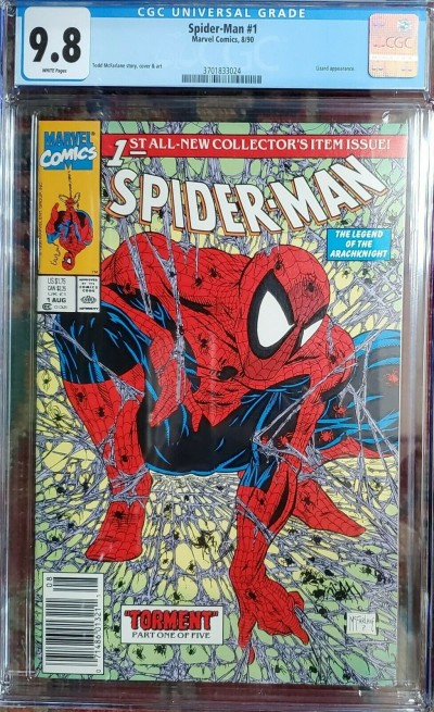 SPIDER-MAN #1 (1990) CGC 9.8 NM/MT WHITE TODD McFarlane UPC NEWSSTAND Variant ~