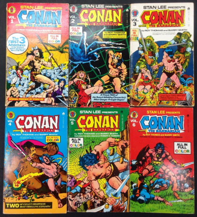 Stan Lee Presents (1978) Conan pocket paperback vol. 1 2 3 4 5 6 complete set