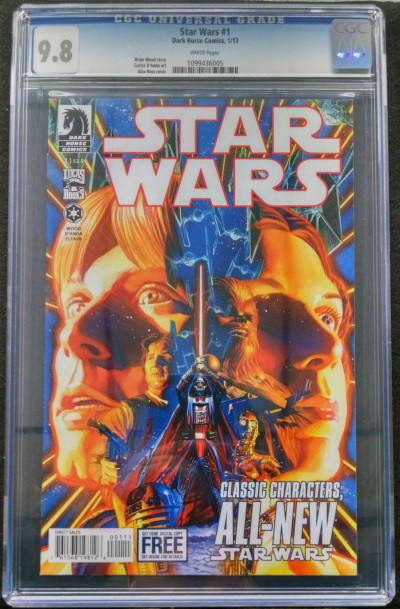 STAR WARS (2013) #1 CGC GRADED 9.8 WHITE PAGES ALEX ROSS COVER