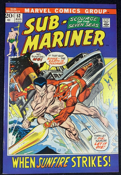 Sub-Mariner (1968) #52 FN/VF (7.0) VS Sunfire Picture Frame Cover Bill Everett