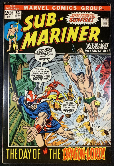 Sub-Mariner (1968) #53 FN/VF (7.0) Sunfire App, Picture Frame Cover Bill Everett