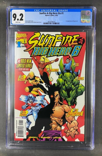 Sunfire & Big Hero 6 (1998) #1 CGC Graded 9.2 White Pages 1st App (3824796014)