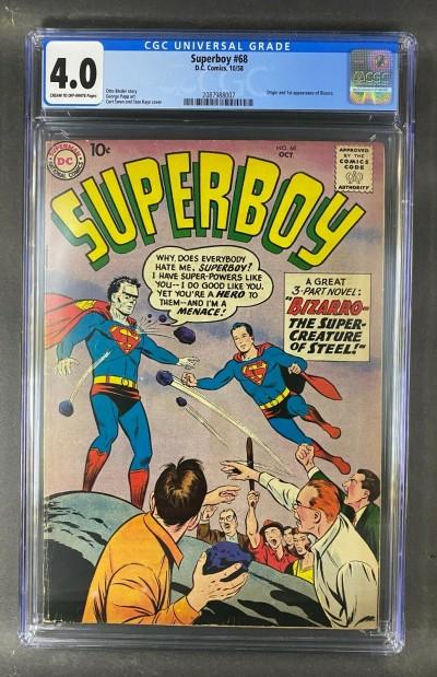 Superboy (1949) #68 CGC Graded 4.0 Origin & 1st Appearance Bizarro (2087988007)